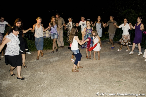 Tina trying Albanian dances