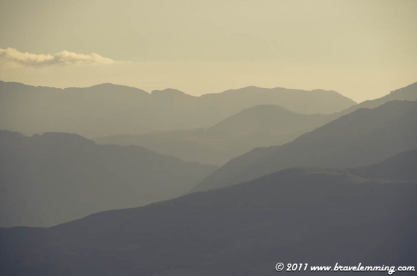 Shapes of Albanian mountains at the horizon