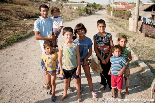 Gypsy kids in a village
