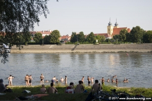 Osijek from the beach on the Dráva