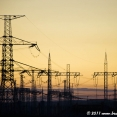 Sunset and electtric poles
