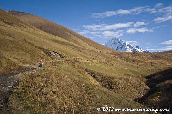 Cycling to Zagari Pass after Ushguli