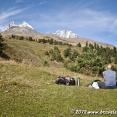 Picnic while watching Mt. Ushba