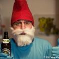 Smurf drinking Bavarian beer