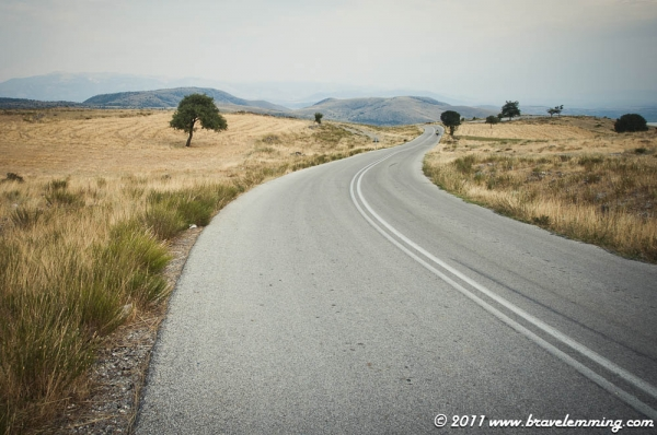 The road on the hills in Northern Greece
