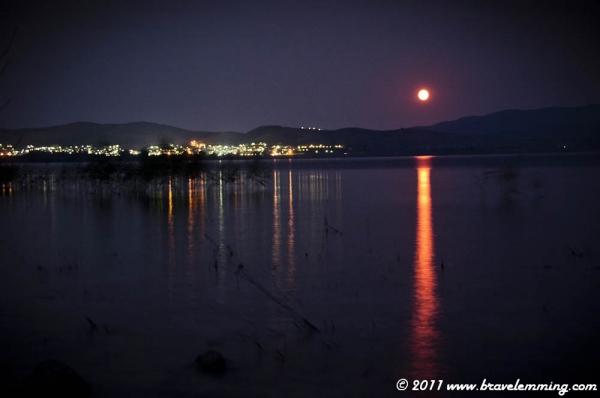 The moon on the lake of Limni Vergotitis
