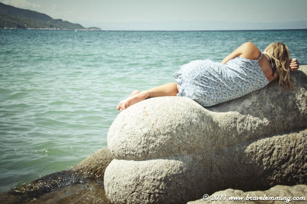 Laying on a woman shaped rock...