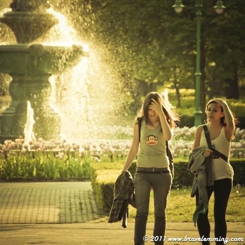 Girls in Eger, eastern Hungary