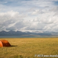 Camping at Song Kul Lake, 3016 metres in the Tian Shan...