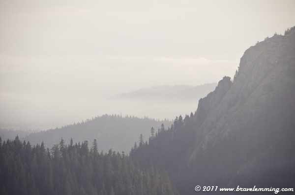 Mountains and morning fog