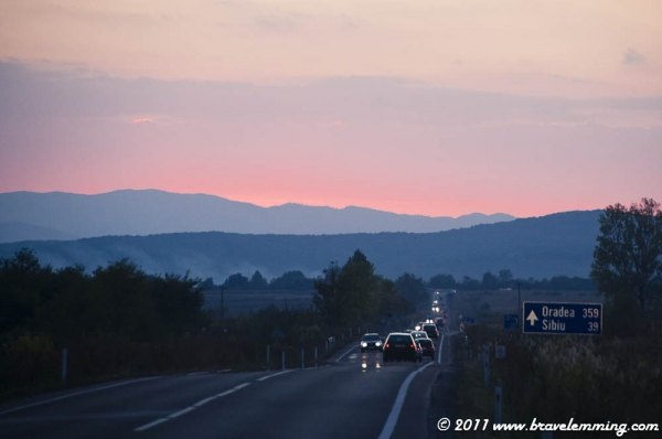 Night falling on the road to Sibiu...