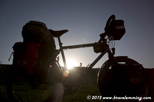 Moonrise and bicycle