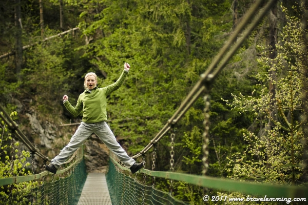 Tina having fun on a suspended bridge in Slovensky Raj