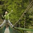 Tina having fun on a suspended bridge in Slovensky Raj
