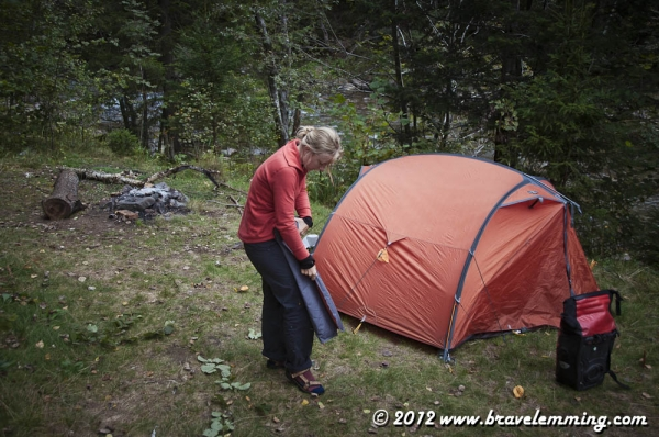 Packing the tent in the morning...
