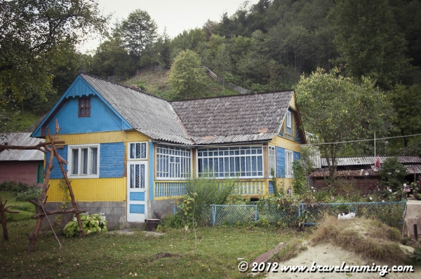 Yellow and blue house in the Carpathians