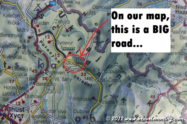 And on our map there is a nice big road!!!