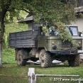 Military truck in a garden